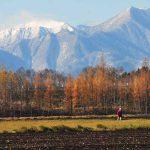 西に日高山脈 北に大雪山 地に平野 空に大空 紅葉する木々を歩く